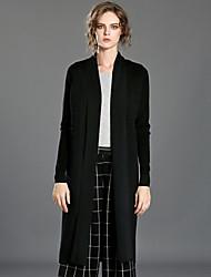 Long Cardigan Femme Décontracté / Quotidien simple,Couleur Pleine Noir Col en V Manches Longues Laine / Rayonne / Acrylique / Spandex