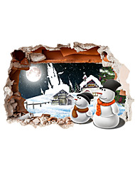 3D Christmas Snowman Hole PVC Material Decorative Skin Wall Stickers