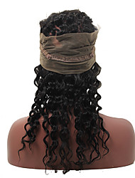 360 Lace Frontal Closure With Adjustable Straps Deep Wave Wavy Malaysian Virgin Hair 360 Lace Band Frontal