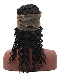 360 Лобовой Крупные кудри Человеческие волосы закрытие Умеренно-коричневый Швейцарское кружево 60-120g грамм Для миниатюрных Размер крышки