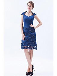 Sheath / Column Mother of the Bride Dress Knee-length Sleeveless Lace / Tulle with Appliques / Beading