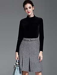 Dreamy Land Women's Casual/Daily Simple Fall Set SkirtSolid Turtleneck Long Sleeve Black Polyester
