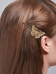 Women Fashion Plated Rose Gold Alloy Clip Natural Style Girls Hair Clip Hollow Butterfly Side Clip Hair Accessories  1 Piece