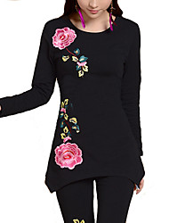 Women's Casual/Daily Plus Size Simple Fall T-shirt,Floral Round Neck Long Sleeve Others Medium