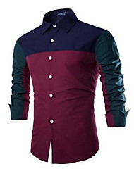 Men's Going out / Casual/Daily Simple Summer Shirt,Color Block Shirt Collar Long Sleeve Red / Green Cotton Medium