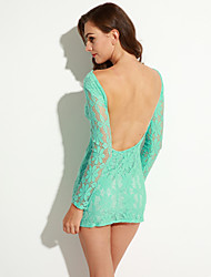 Women's Going out Sexy Bodycon / Lace Dress,Solid Round Neck Mini Short Sleeve Pink / Green Polyester Fall