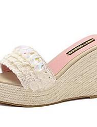 Damen-Slippers & Flip-Flops-Lässig-Andere TierhautKomfort-Rosa / Beige