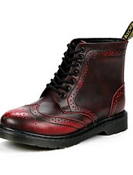 Women's Boots Comfort Leather Casual Red Coffee