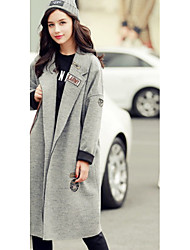 Women's Casual/Daily Simple Coat,Solid Shirt Collar Long Sleeve Winter Gray / Purple Polyester Medium