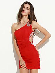 Moulante Robe Femme SoiréeMosaïque Une Epaule Mini Sans Manches Bleu Rouge Noir Polyester Nylon Printemps Eté Automne Elastique Moyen