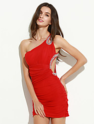 um ombro mini vestido das mulheres, organza azul / vermelho / preto sexy / bodycon