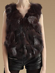 Women's Casual/Daily Simple Fur Coat,Solid Sleeveless Brown Fox Fur