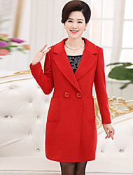 Women's Casual/Daily / Beach / Holiday Simple / Chinoiserie Pea Coats,Solid Shirt Collar Long Sleeve Winter Blue / Red / Gray / Purple