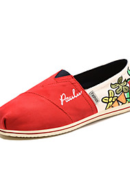 Women's Spring Fall Round Toe Canvas Casual Flat Heel Slip-on Blue/Red