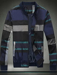 Men's Going out / Casual/Daily Simple Jackets,Color Block Stand Long Sleeve Summer Blue Cotton Thin