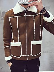 Masculino Curto Casaco Acolchoado,Simples Sólido Casual / Informal-Algodão Sem Enchimento Manga Longa Colarinho de Camisa Marrom / Cinza