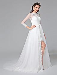 LAN TING BRIDE Linha A Vestido de casamento - Chique e Moderno Duas Peças Cauda Corte Canoa Renda Tule com Laço Botão Faixa / Fita