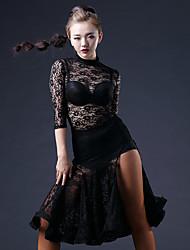 Dança Latina Vestidos Mulheres Actuação Raiom / Náilon Chinês / Renda Renda 1 Peça Luva de comprimento de 3/4 Natural VestidosDress