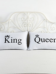 King Queen Couple Decorative Bed Pillowcase Valentine's Day Gift Body Pillow Case Romantic 2Pcs 50cmx75cm