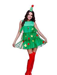 Fantasias de Cosplay Festival/Celebração Trajes da Noite das Bruxas Verde Cor Única Saia / Mais Acessórios Natal Feminino