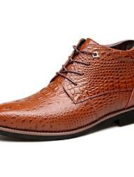 Черный Коричневый-Мужской-Для прогулок Повседневный-Кожа Мех-На низком каблуке-Удобная обувь-Ботинки