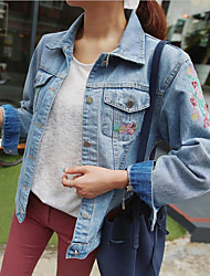 Women's Going out / Casual/Daily / Party/Cocktail Simple Denim Jackets,Solid Shirt Collar Long Sleeve Fall / Winter Blue Polyester Medium