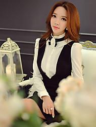 Feminino Camisa Social Informal / Casual / Formal estilo antigo / Fofo / Sofisticado Primavera / Outono,Sólido / Colorido BrancoPoliéster