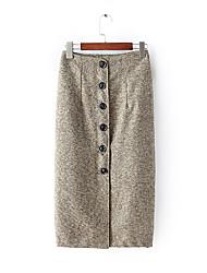 Damen Röcke,Bodycon PunkteAusgehen / Lässig/Alltäglich Sexy / Vintage / Street Schick Hohe Hüfthöhe Über dem Knie Knopf Baumwolle / Leinen