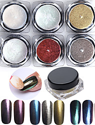 6pcs/lot Chrome Mirror Powder Dust Pigment Magic Aluminum