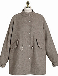 Women's Going out / Casual/Daily Simple Coat,Solid Hooded Long Sleeve Winter Gray Wool Thick