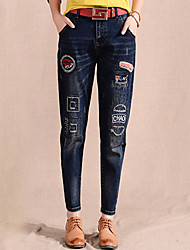 Women's Loose Jeans out  chic Solid Patchwork