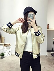 Women's Going out / Casual/Daily Simple / Street chic Leather Jackets,Solid Crew Neck Long Sleeve All Seasons Gold PU Medium