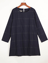 Robe Femme Décontracté / Quotidien Grandes Tailles Sexy,Mosaïque Col Arrondi Au dessus du genou Manches Longues Bleu Nylon AutomneNon
