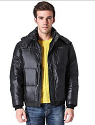 Men's Down Coat,Simple Casual/Daily Solid-Polyester Gray Duck Down Long Sleeve Black / Green