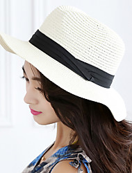 Women 's Casual Stitching Color Foldable Flat  Wide - brimmed Straw Bow Topper Hat
