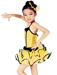 Ballet Dresses Children's Performance Spandex / Polyester / Organza / Sequined Paillettes / Flower(s) / Sash/Ribbon / Sequins / Tiers2