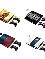 Skin Sticker Vinyl Decal Cover for PS3 Slim + 2 Controllers