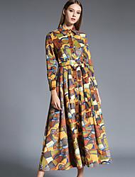 Swing Robe Femme Décontracté / Quotidien Sophistiqué,Imprimé Col de Chemise Midi Manches Longues Marron Acrylique / Polyester Automne