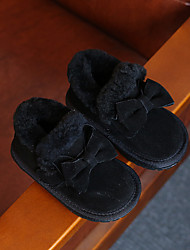Girls' Boots Comfort Snow Boots Cowhide Winter Casual Comfort Snow Boots Bowknot Flat Heel Black Ruby Blushing Pink Flat