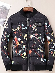Men's Short Padded Coat,Simple Casual/Daily Print-Cotton Cotton Long Sleeve Stand Black