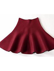 Damen Röcke,Schaukel einfarbig Rüsche,Ausgehen / Lässig/Alltäglich Einfach / Sexy Mittlere Hüfthöhe Mini Elastizität Kunstpelz