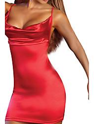 Feminino Super Sensual Roupa de Noite,Sensual Cor Única-Médio Elastano Vermelho Preto