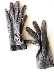 mulheres cordeiro pele comprimento dedos pulso, patchwork inverno ocasional