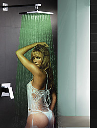 Brass Thermostatic Rainfall Shower Faucet, LED Temperature Sensitive 3 Colors Shower