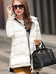 Women's Regular Down Coat,Cute Going out Solid-Polyester White Duck Down Long Sleeve Red / White / Black
