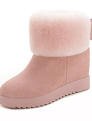 Women's Boots Winter Comfort Fur Casual Wedge Heel Black Pink