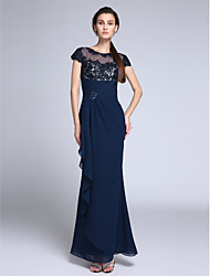 2017 TS Couture®Formal Evening Dress Trumpet / Mermaid Jewel Floor-length Chiffon with Appliques / Crystal Detailing
