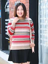 Mujer Regular Pullover Casual/Diario Tallas Grandes Simple,Estampado Rojo Escote Redondo Manga Larga Lana Poliéster Nailon Otoño Invierno