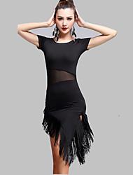 RobesTulle / Fibre de LaitFemme Frange (s) Entraînement Danse latine Taille haute