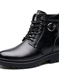 Черный-Мужской-Для прогулок Повседневный-Кожа Мех-На низком каблуке-Удобная обувь-Ботинки